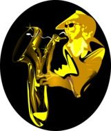 person plays saxophone, golden and black drawing