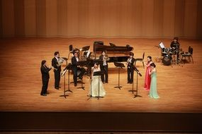 ensemble on a stage