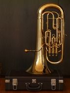 euphonium on a black background