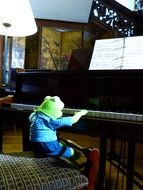 kermit frog piano play exercise