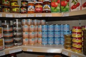 tin cans on shelves