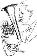 drawing of a man playing a wind instrument