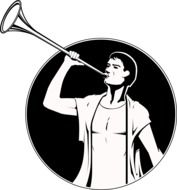 man with fanfare as a graphic illustration