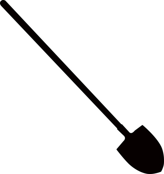 drawing black shovel