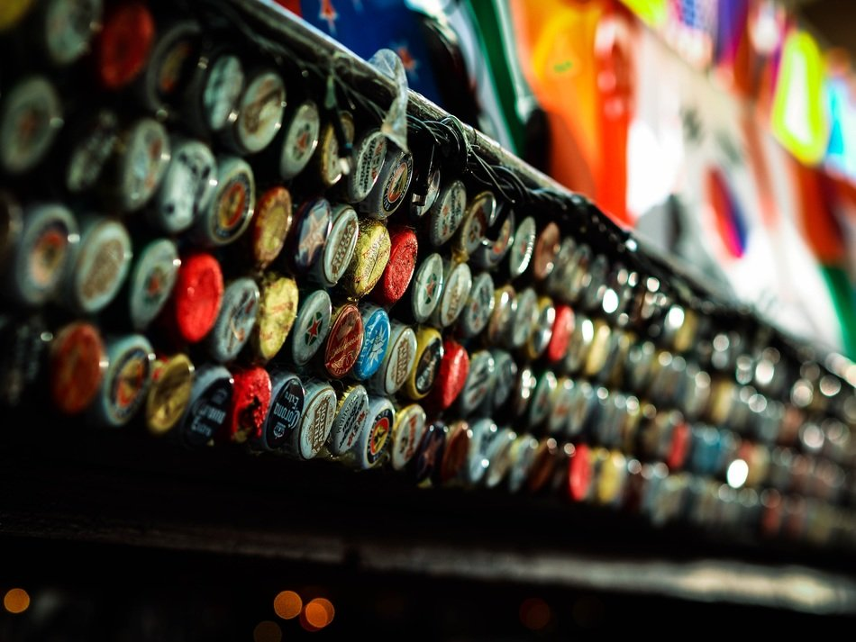 colorful beer bottle caps