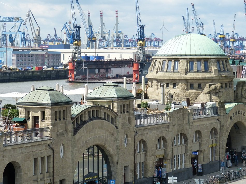 Architecture of Hamburg on the background of the port