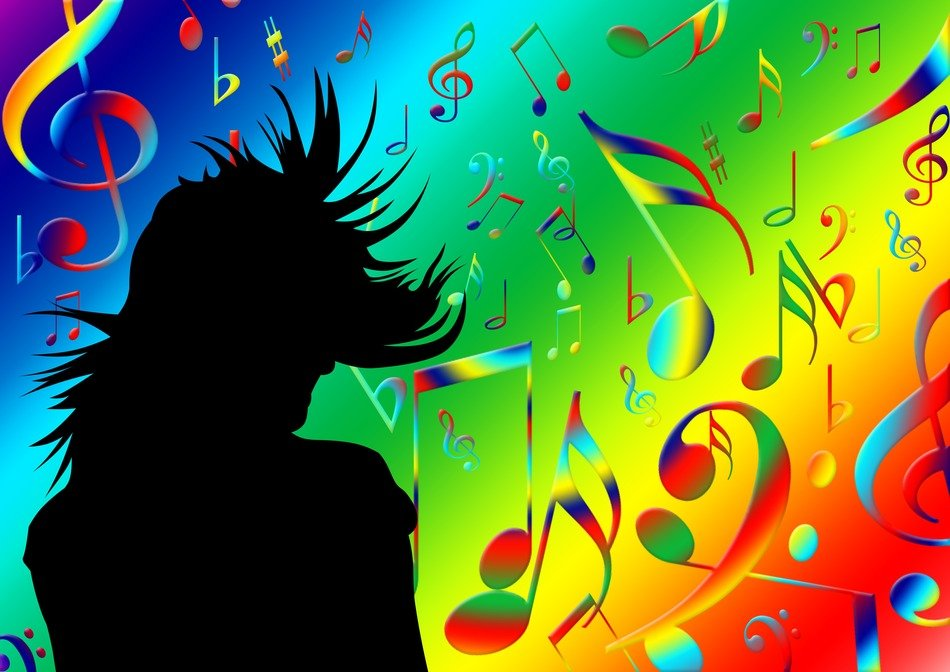Silhouette of woman on bright background with music notes