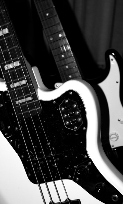 Black and white electric bass guitar