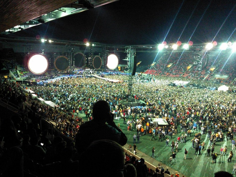 panoramic view of the crowd at a concert