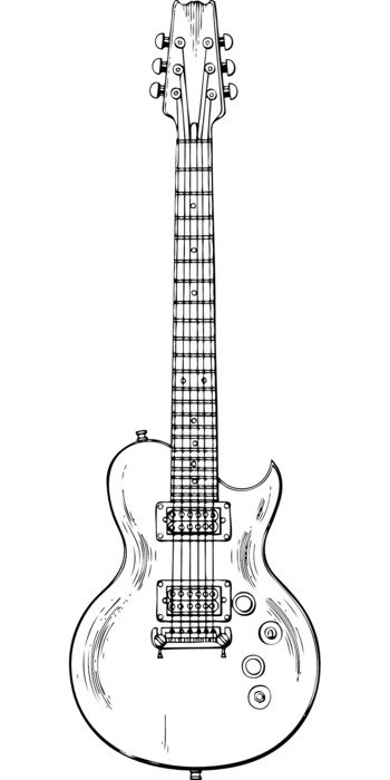 electric guitar musical instrument music black white drawing