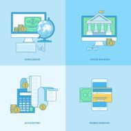 Set of line concept icons for internet banking online payment