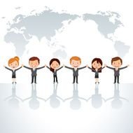 cartoon business people holding hands in front of world map