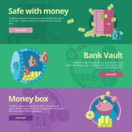 Flat design concepts for safe money bank vault money box