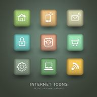 Buttons Internet Icons for social network collections