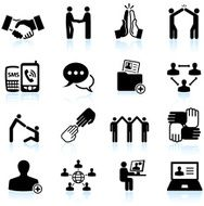 business networking and communications black & white vector icon set