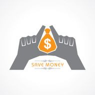 Save money concept - hands protecting bag of vector illustration
