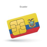 Ecuador mobile phone sim card with flag