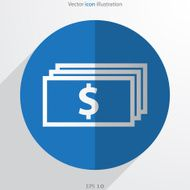 Vector banknotes with dollar sign web flat icon
