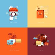 Set of flat design concept icons for online shopping