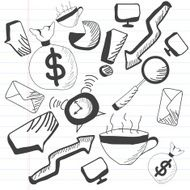 Collection of business doodles