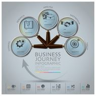 Business Journey Infographic With Magnifying Glass Round Circle Diagram