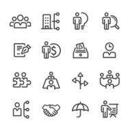 human resource Business and Management Icons - Line Series