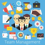 Vector Set of Flat Design Icons Illustrations for Team Management