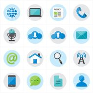 Flat Icons For Web and Internet Vector Illustration