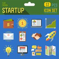 Business startup icon set 1 12 pcs Trendy illustrations