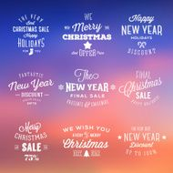 Christmas and New Year Vintage Sales Typography Labels on Abstract