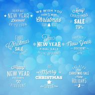 Christmas and New Year Vintage Typography Holidays Sales Discounts Labels
