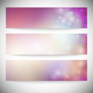Set of horizontal banners Abstract multicolored defocused lights background vector