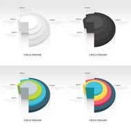 Business Infographics circle origami style set
