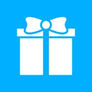 Gift Box icon on a blue background - SmoothSeries