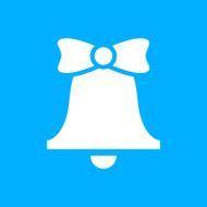 Bell icon on a blue background - SmoothSeries