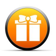 Gift Box icon on a round button - SimpleSeries