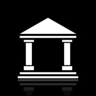 Bank icon on a black background - White Series