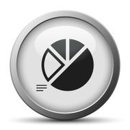 Pie Chart icon on a silver button - Silver Series