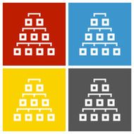 Organization Chart icon on square buttons - Square Series
