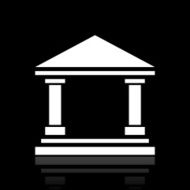 Bank icon on a black background - White Series N3