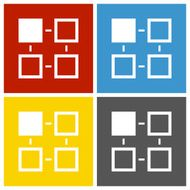 Flowchart icon on square buttons - Square Series N6