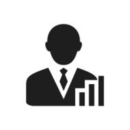 black and white icon of Businessman and bar graph
