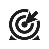 black and white icon of Target with arrow