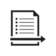 black and white icon of Document with arrow