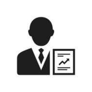 black and white icon of Businessman with diagram
