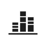 black and white icon of Bar Graph with sections