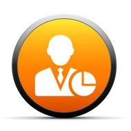 orange button with icon of Businessman and clock