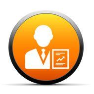 orange button with icon of Businessman and flowchart