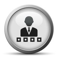 silver button with icon of Businessman and decision boxes