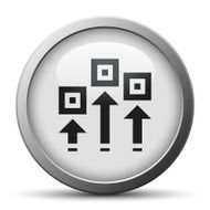 silver button with icon of process scheme